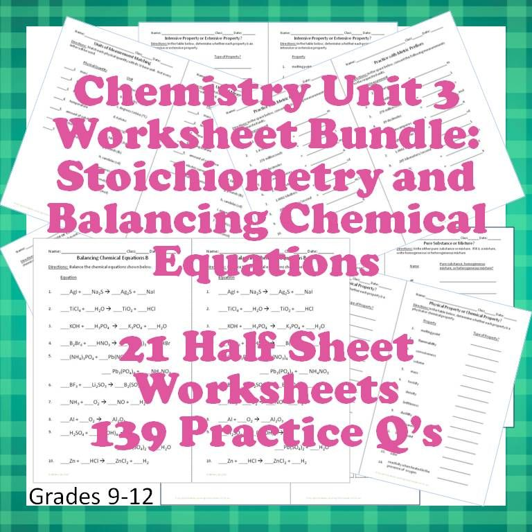 Stoichiometry And Balancing Chemical Equations  Different