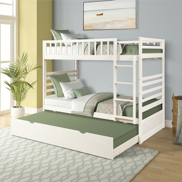Harper Bright Designs White Twin Over Twin Solid Wood Bunk Bed With Trundle Sk000015aak The H In 2020 Bunk Bed With Trundle Wood Bunk Beds Bunk Beds For Girls Room