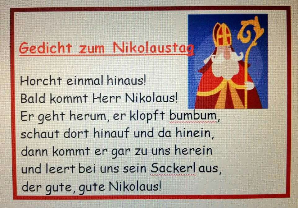 nikolausgedicht gedicht nikolaus nikolaus lieder und. Black Bedroom Furniture Sets. Home Design Ideas