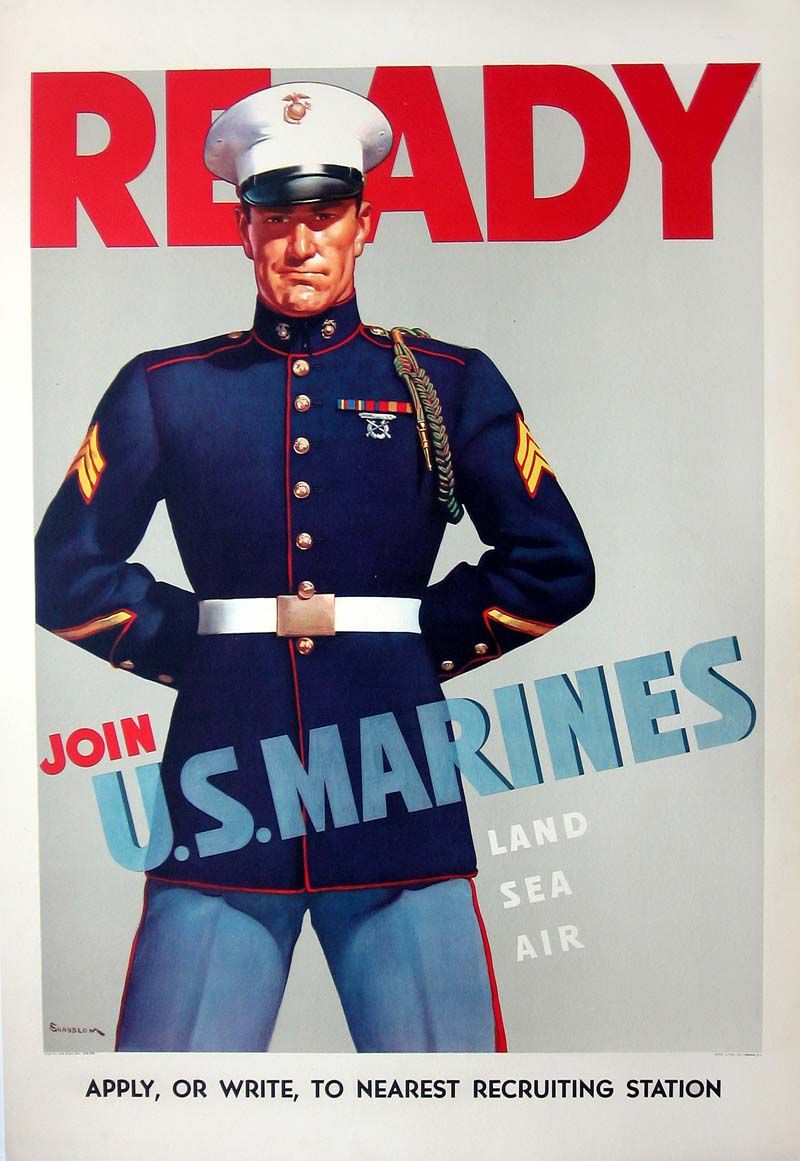Marines Recruiting Poster Marines Vintage Poster Marinecorps Marines Marine Poster Military Poster Wwii Posters