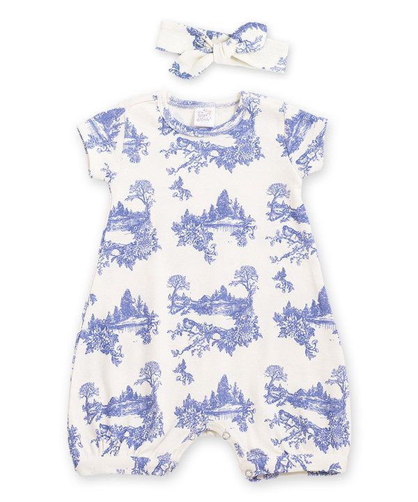 23012eb5e3ac Look at this Tesa Babe Blue Toile Bubble Romper   Bow Headband - Infant on   zulily today!