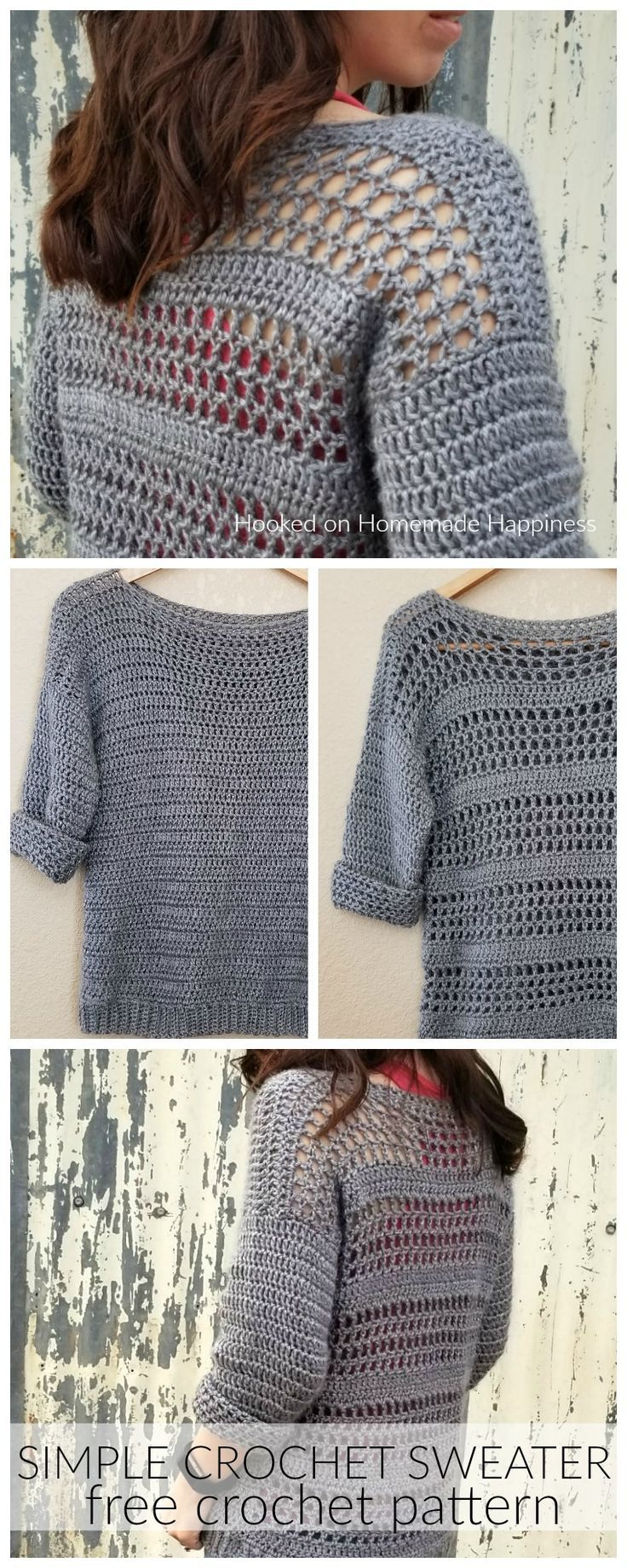 Simple Crochet Sweater Pattern #crochetedsweaters