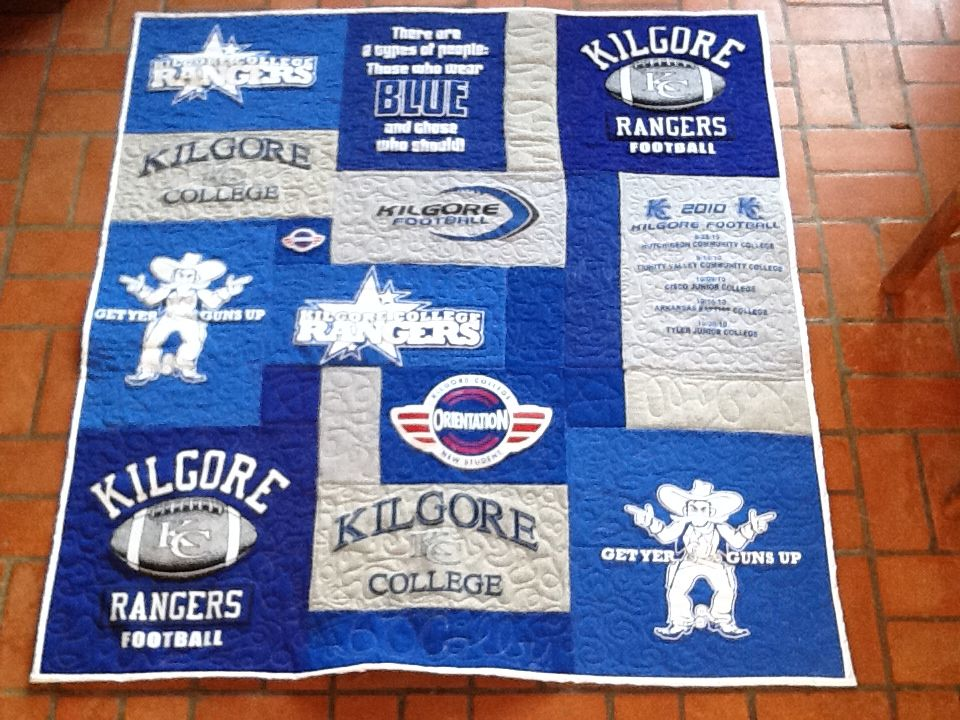 Kilgore College t-shirt quilt like what you see go to www ... : college quilt patterns - Adamdwight.com