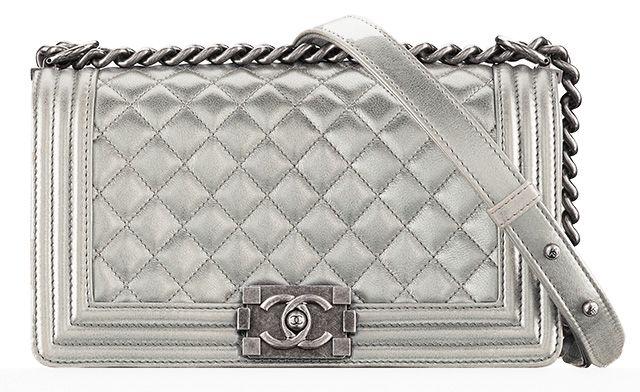 139cb436a21036 Chanel Medium Flap Bag - Silver   metallic bags   Bags, Chanel boy ...