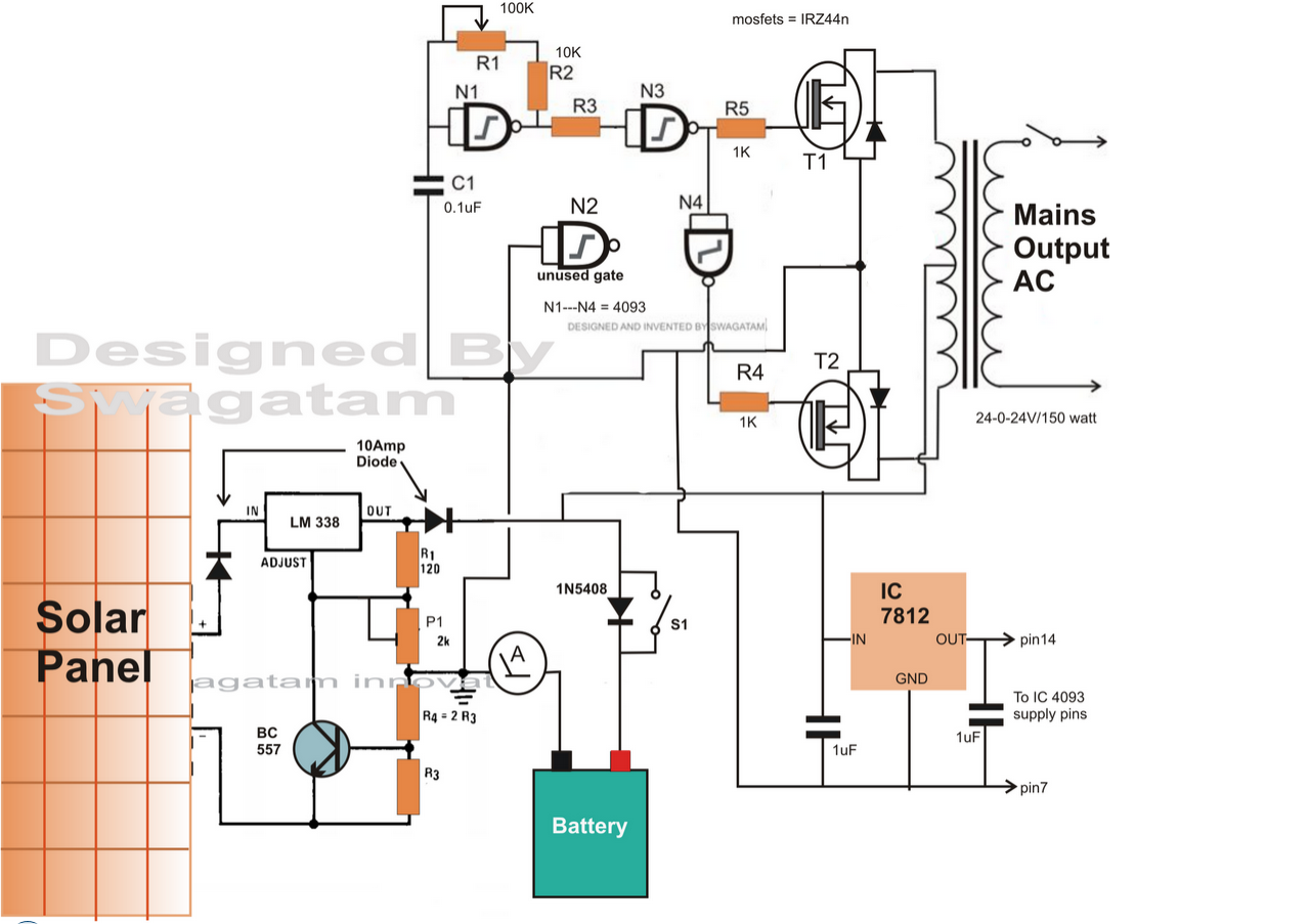 inverter circuit diagram moreover solar inverter circuit diagram on ac inverter circuit diagram likewise solar panel micro inverter wiring [ 1280 x 903 Pixel ]