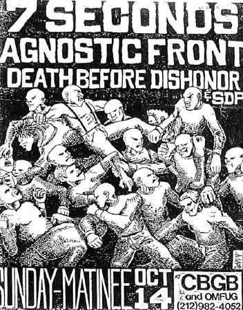 7 Seconds, Agnostic Front, Death Before Dishonor punk hardcore flyer