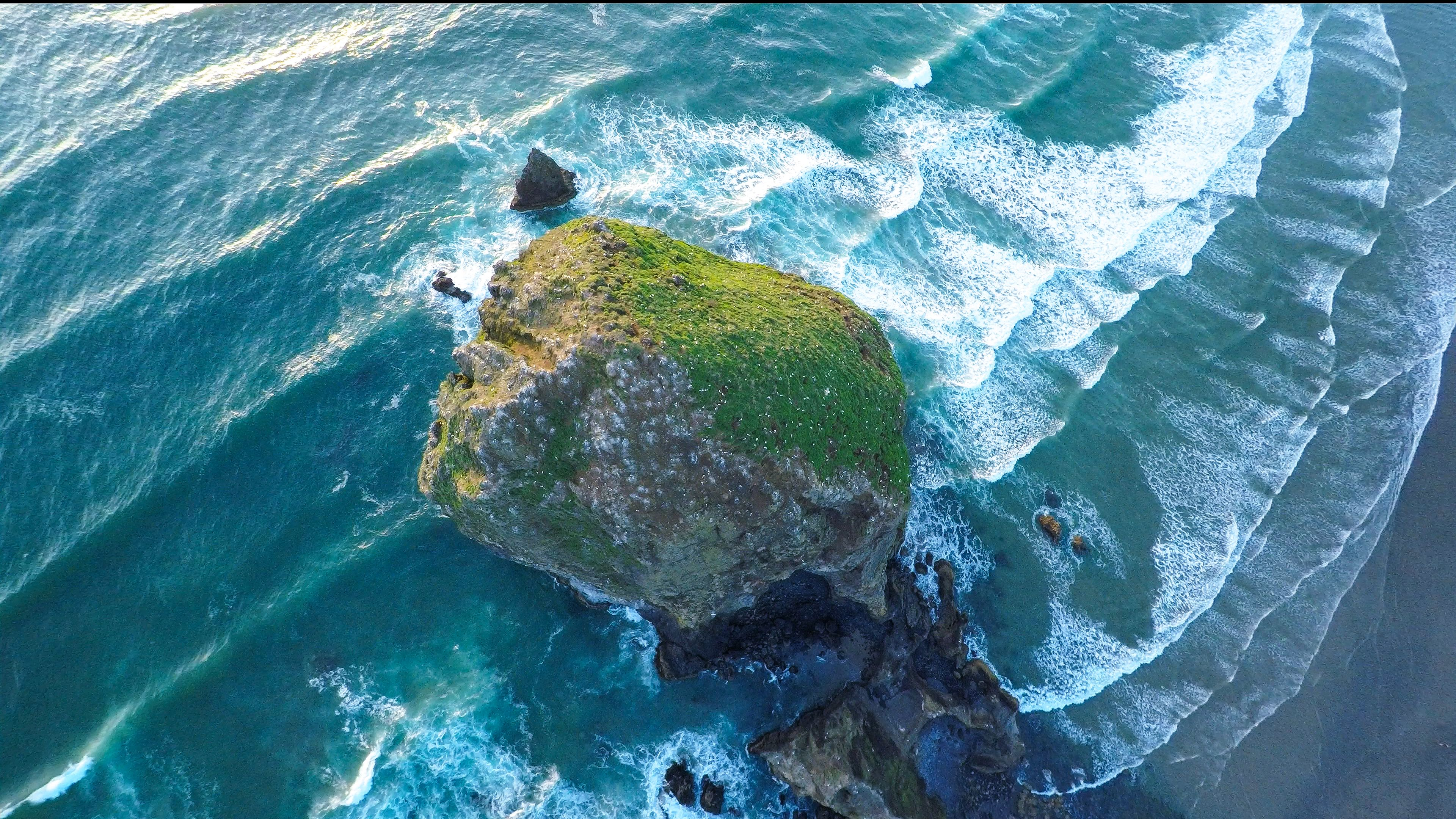 This Aerial Photo Of Haystack Rock In Cannon Beach Oregon Was Taken With A DJI Phantom