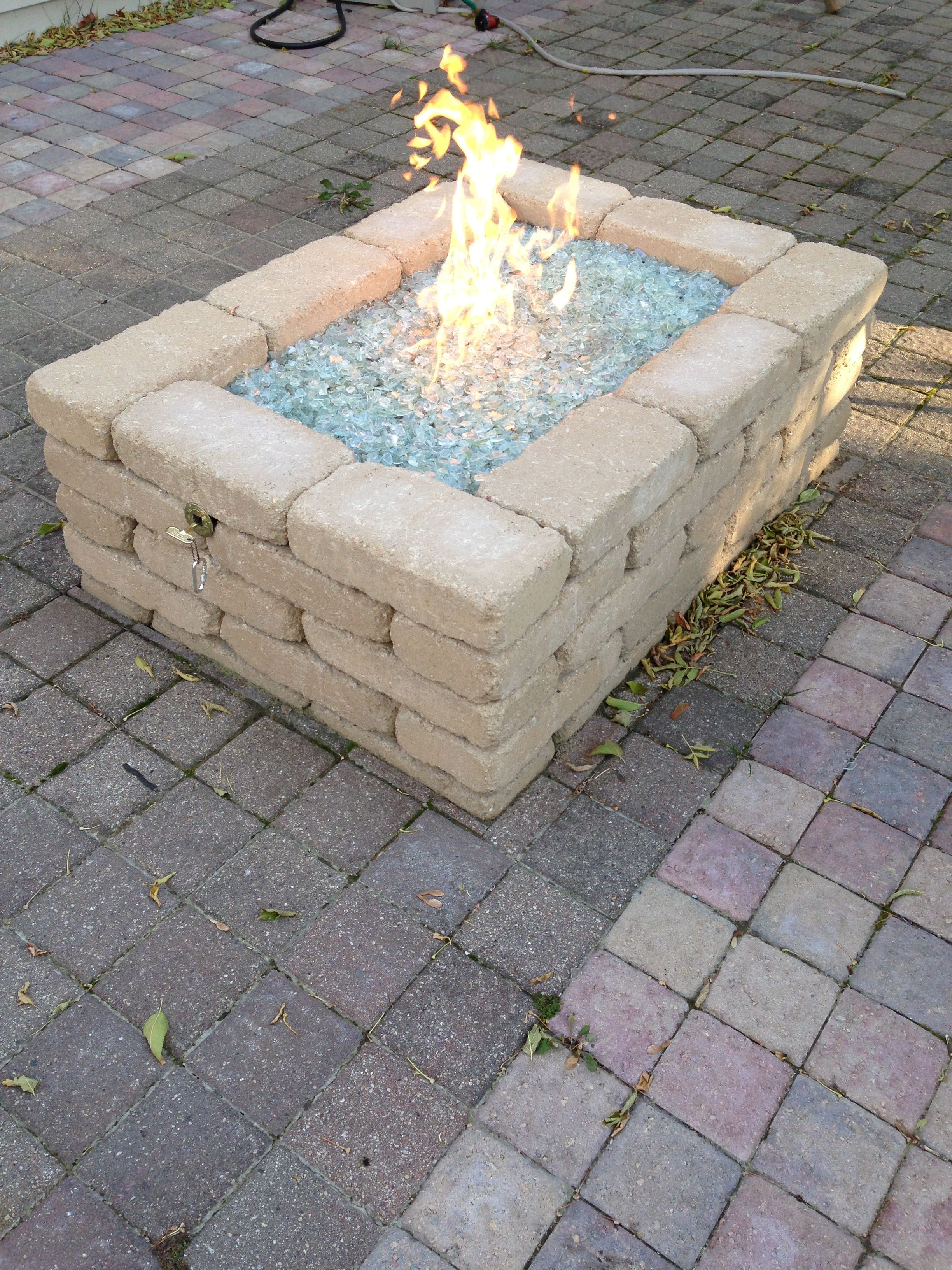 Natural Gas Fire Pit Block Purchased From Menards Glass Purchased Online At Woodlanddirect Com Burner Purc Natural Gas Fire Pit Outdoor Fire Pit Gas Firepit