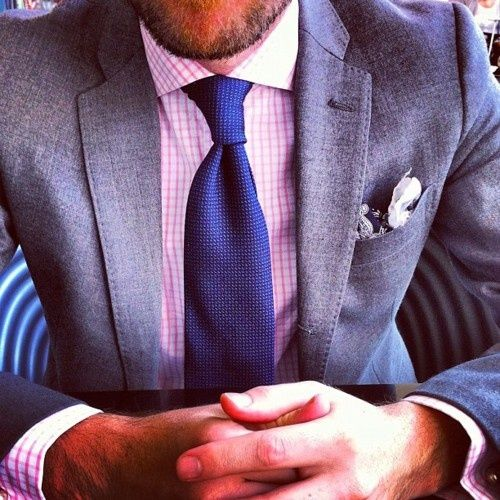 Men's Grey Blazer, White and Red Gingham Dress Shirt, Navy Tie ...