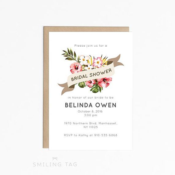 Printable Bridal Shower Invitation - Hawaii Tropical Garden Bridal