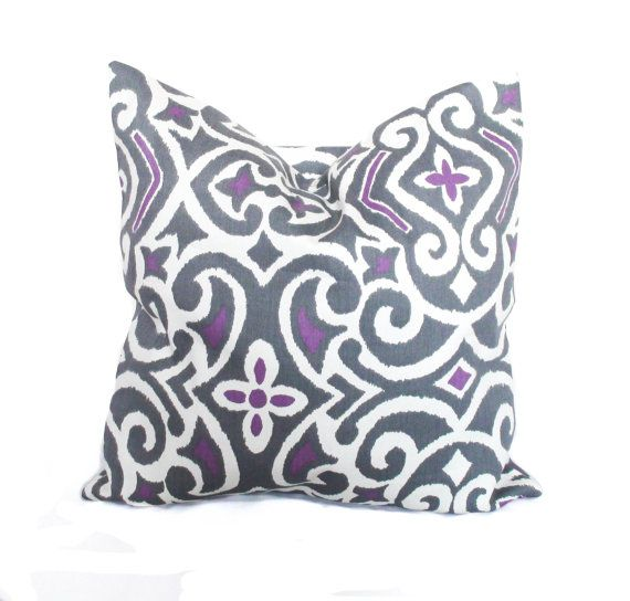 Purple throw pillows Purple pillow cover Grey toss pillow Sofa