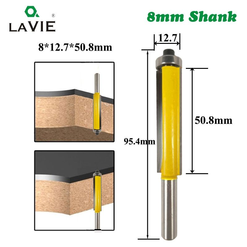 1pc 8mm Shank 2 Flush Trim Router Bit With Bearing For Wood