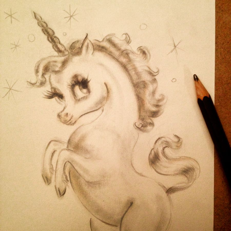 Baby unicorn pencil drawing in progress by artist miss fluff claudette barjoud www missfluff com unicorns unicornart kawaii missfluff