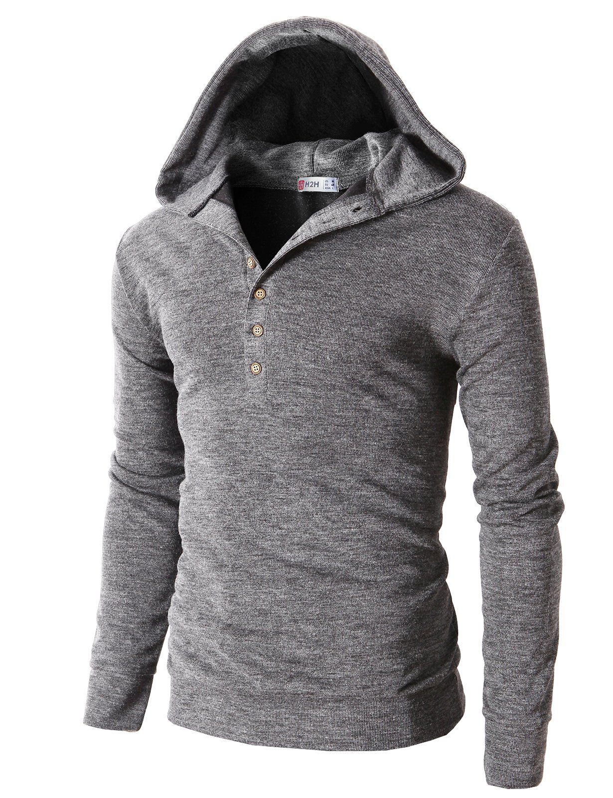 H2h Mens Casual Slim Fit Hooded Henley T Shirts With Button Pointed Gray Us M Asia L Kmohol023 At Amazon Men S Clothi Slim Fit Hoodie Men Casual Mens Outfits [ 1600 x 1230 Pixel ]