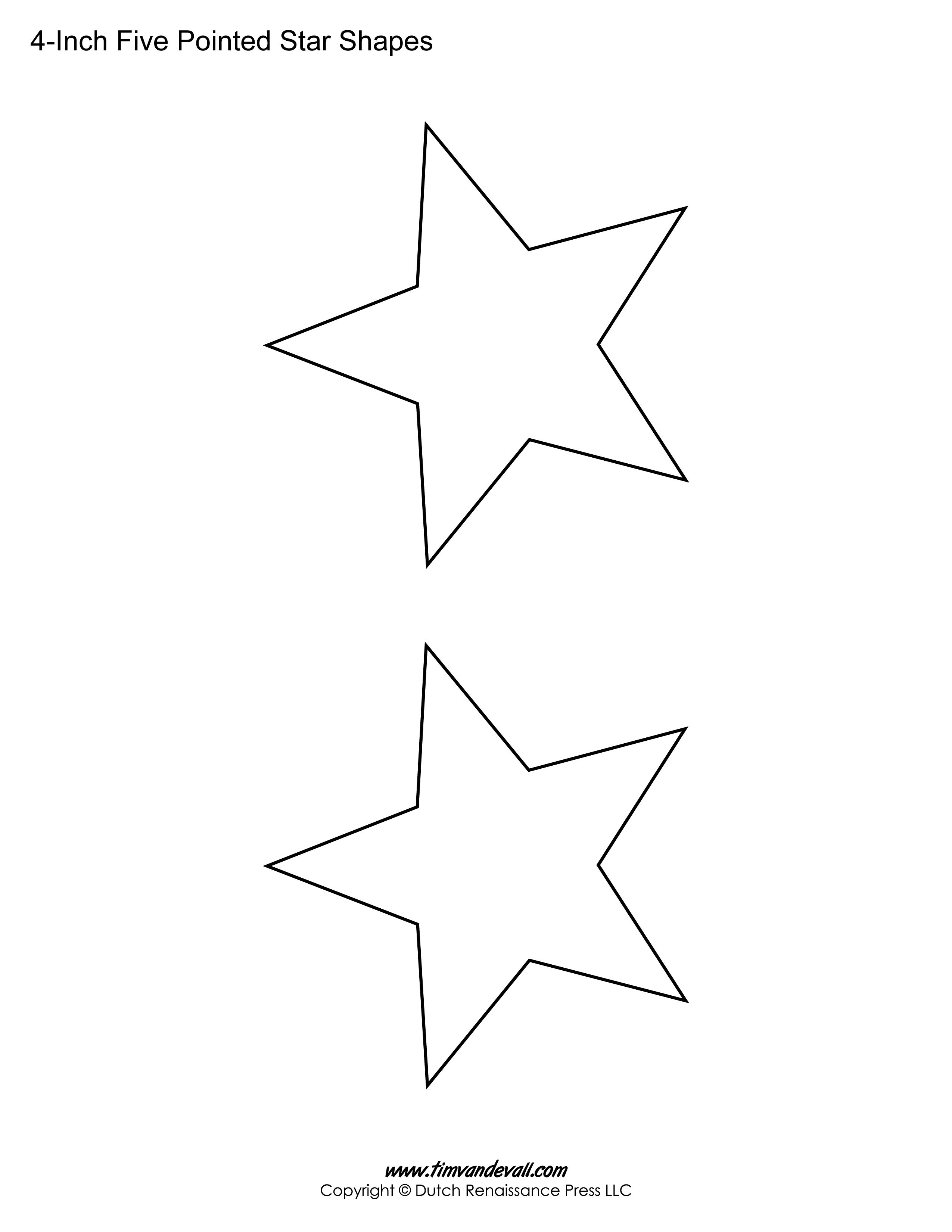 printable five pointed star shapes for art projects