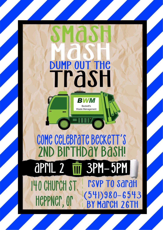 Printable Garbage Truck Birthday Party Invitation Maddox Turns 3