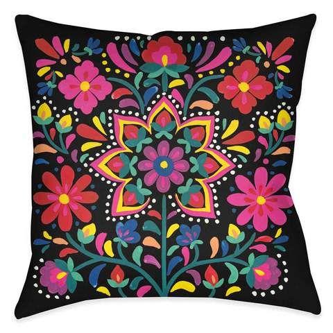 Folk Art Floral Night Shower Curtain - Laural Home