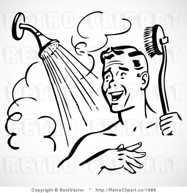 Happy Retro Man Showering Vector Graphic 1988