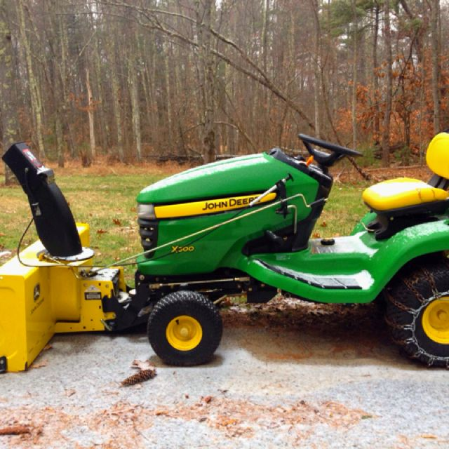 john deere x300 with 46 two stage snow blower attachment. Black Bedroom Furniture Sets. Home Design Ideas