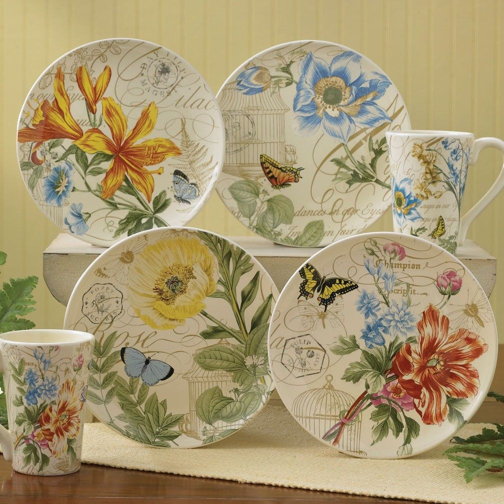Botanical Garden Appetizer u0026 Dessert Plates (Set of 4)  133 - 652ST PD & Botanical Garden Appetizer u0026 Dessert Plates (Set of 4)  133 - 652ST ...