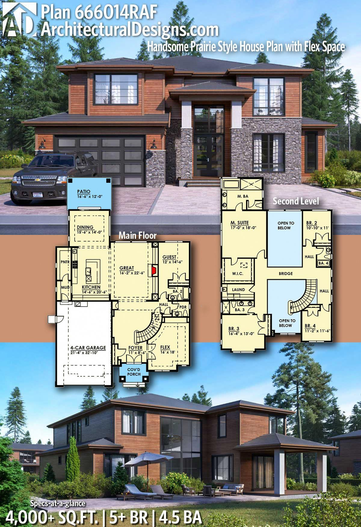 Architectural Designs Modern House Plan 666014raf 5 Beds 4 5 Baths 4 000 Sq Ft Ready When You Prairie Style Houses Sims House Plans Dream House Plans