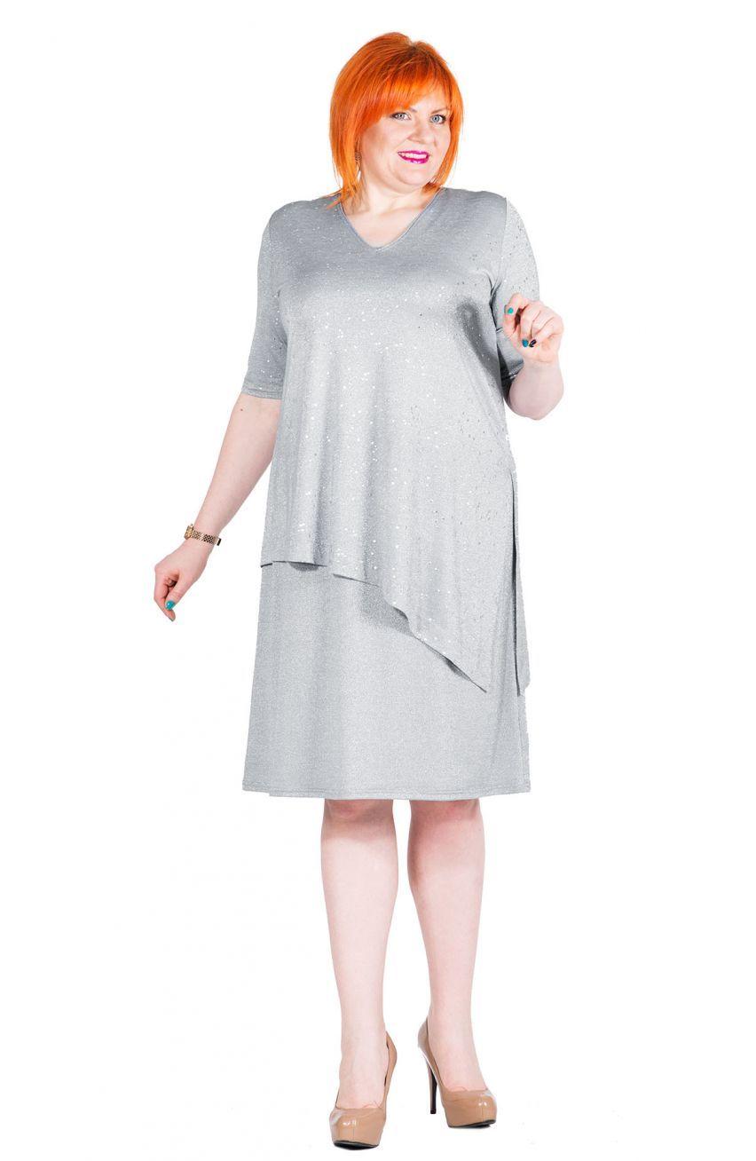 f6d7252a50 Jasnoszara sukienka z narzutką - Modne Duże Rozmiary