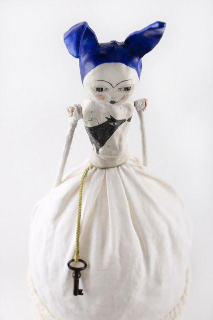 Clay Art Doll with Rabbit Ears