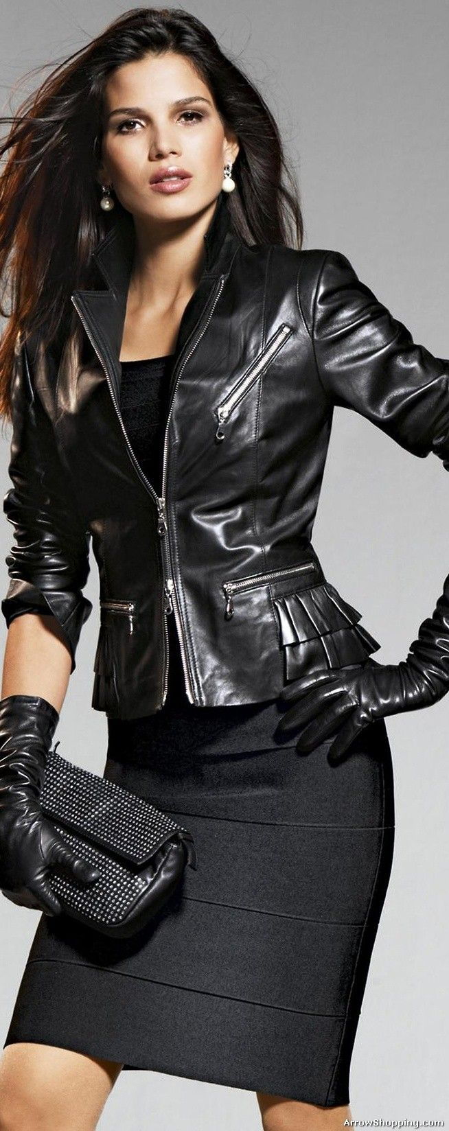 Black leather gloves female - Arrow Women Leather Jacket Yutut65cx Arrowshopping Com654 1648hae Kuvan Perusteella Arrow Womens Leather Motorcycle