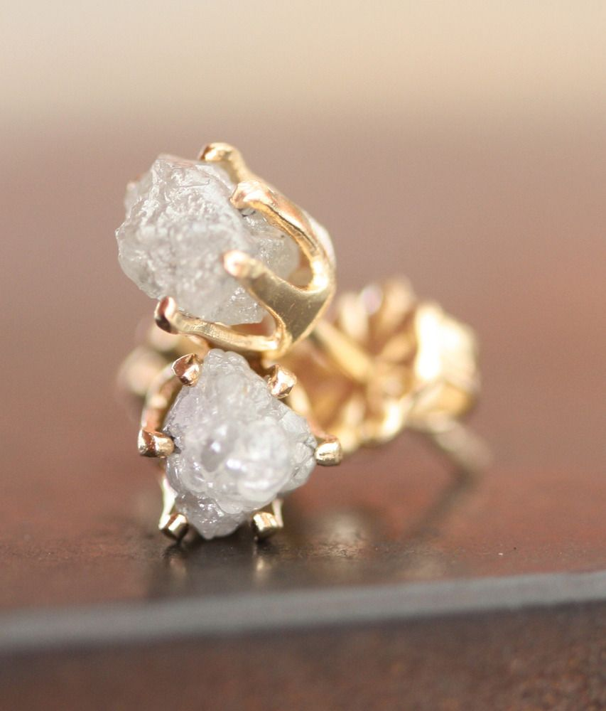 rough diamond earrings. love!