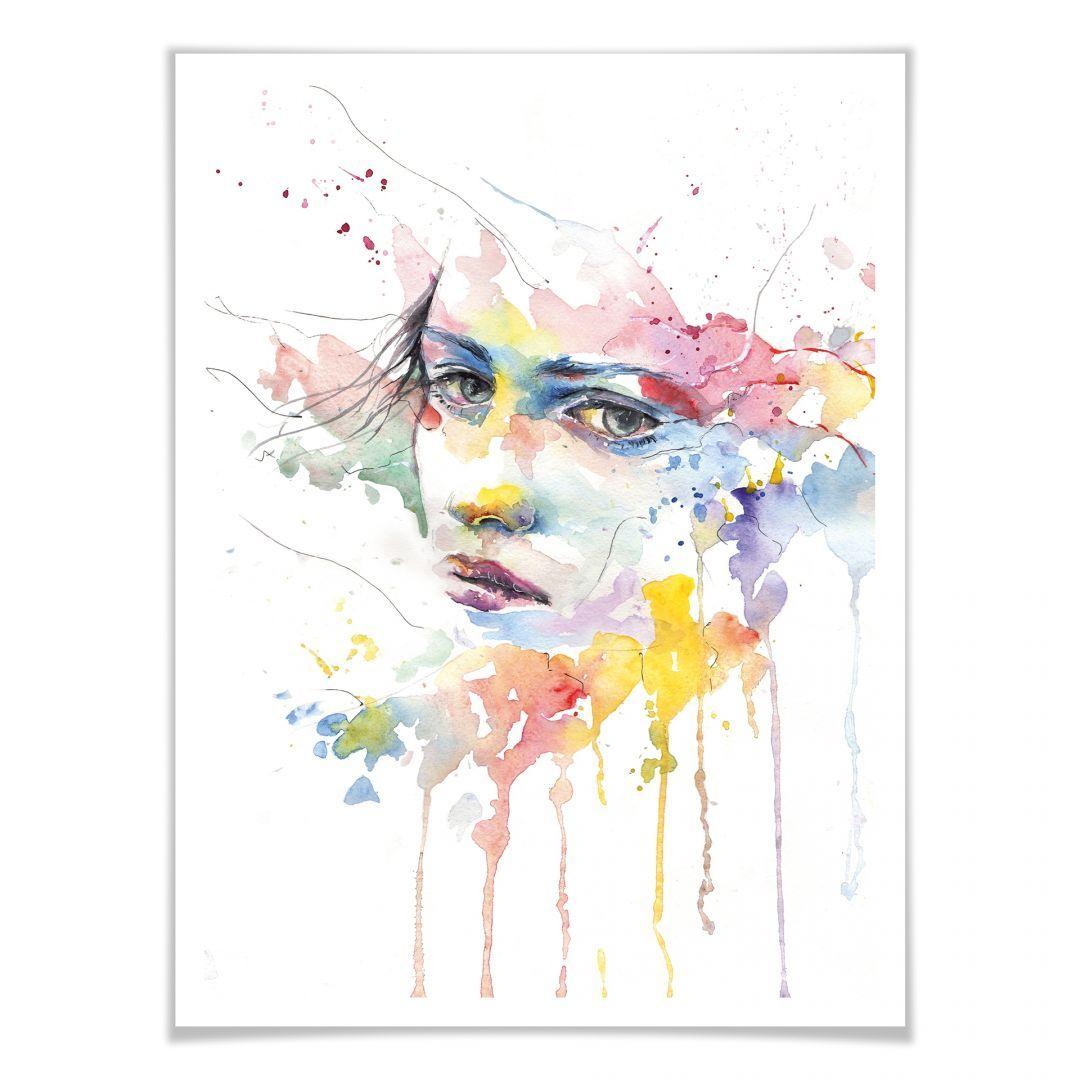 Poster Watercolour Face 02 Wandbild Wanddekoration Farbig