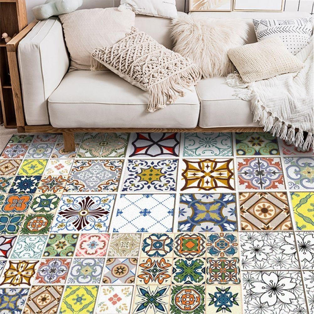 Vintage Large Area Rugs Geometric Flowers Printed Carpet Bohemian Style Floor Mat For Living Room Bedroom Decor Anti Slip Tapete