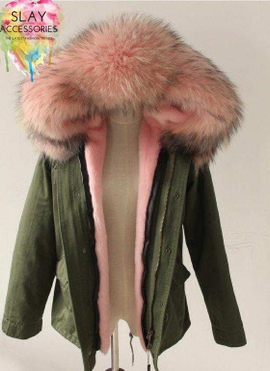 half price footwear order Soft Pink Fur Collar Hood Parka Army Green Jacket – Slay ...