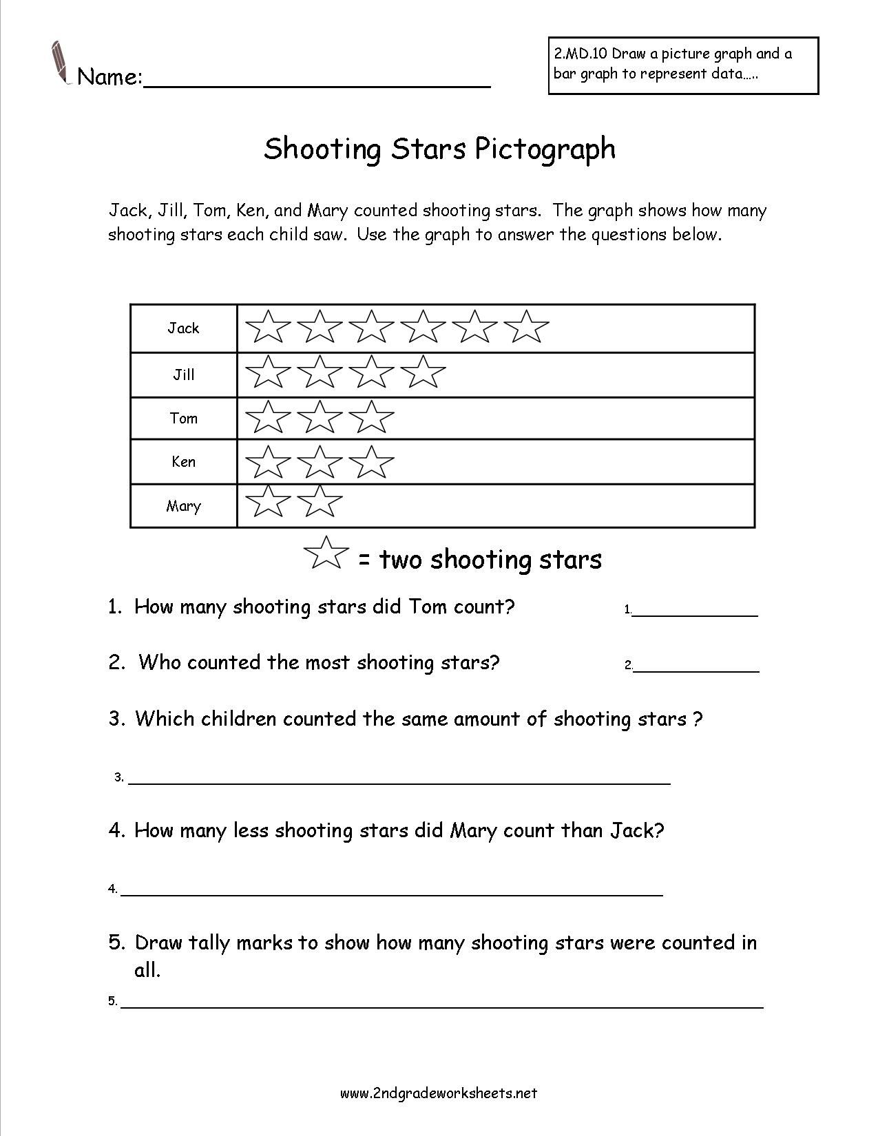 shooting stars pictograph worksheet   Third grade worksheets [ 1650 x 1275 Pixel ]