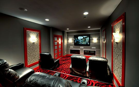 This Theatre Room Is Crazy Unique The Wall Panels Carpet And Custom Doors Make It Exciting Syner Cool Room Designs Theatre Room Seating Home Theater Rooms