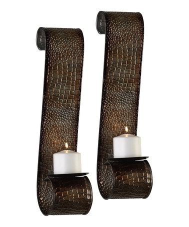 Take a look at this Gold Snakeskin Pillar Sconce - Set of Two by Elegant Design: Home Décor on #zulily today!