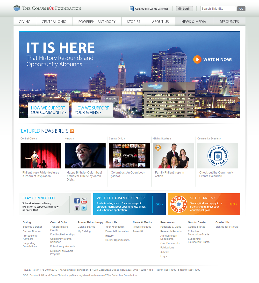 Columbus Foundation Simple And Clean Distinction Between Different Content Boxes Website Design Website Design Inspiration Foundation