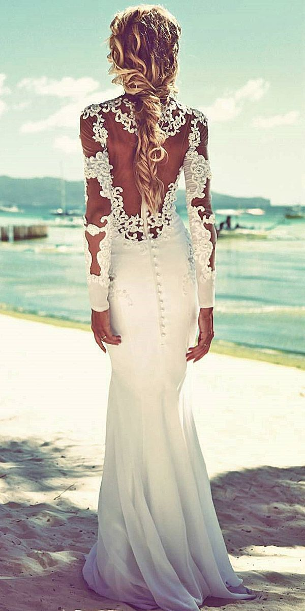 Beach Lace Long Sleeve Wedding Dresses With Illussion Back Nurit Hen