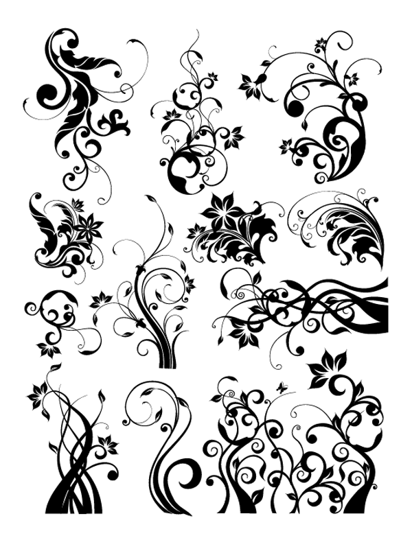 Roundup Of Free Vintage Ornament Floral Vectors Floral Art Design Design Elements Art Design