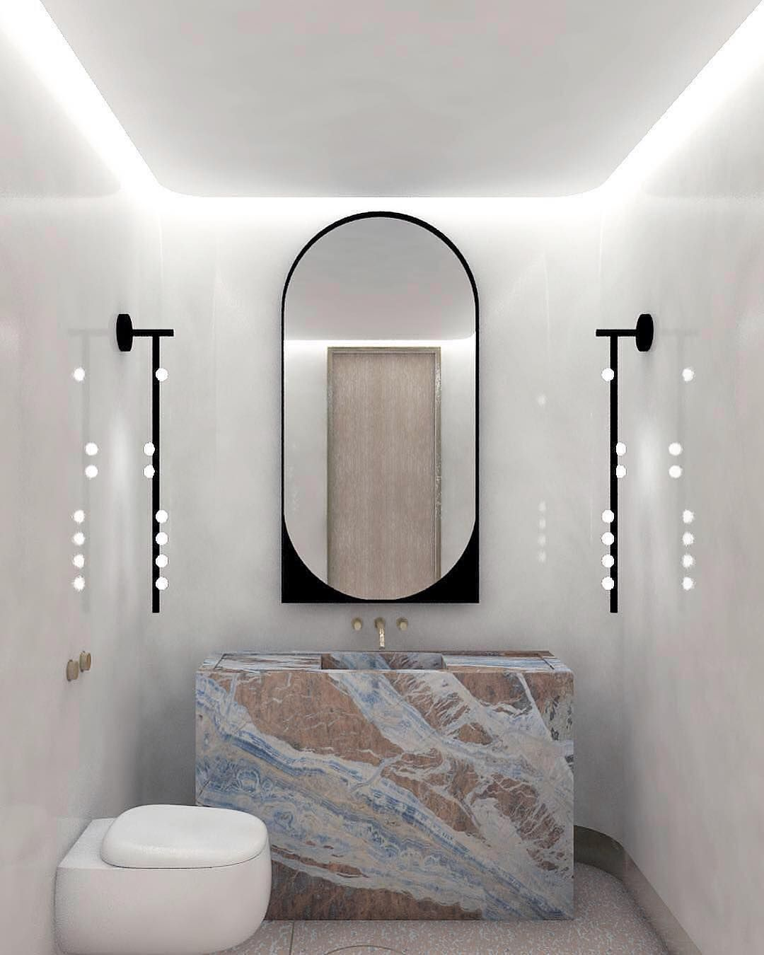Gorgeous Bathroom Rendering A Gorgeous Bathroom Rendering By Mkcarchitecture Featuring Kinandcompany Slip Mirror An Badezimmer Luxus Badezimmer Traumdusche