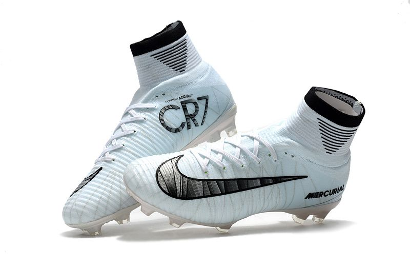 Hot Cr7 Nk Ms Outdoor Soccer Cleats Boots Fg Size 39 45 White Black New Coming Soccer Boots Soccer Cleats Soccer Cleats Nike Mercurial