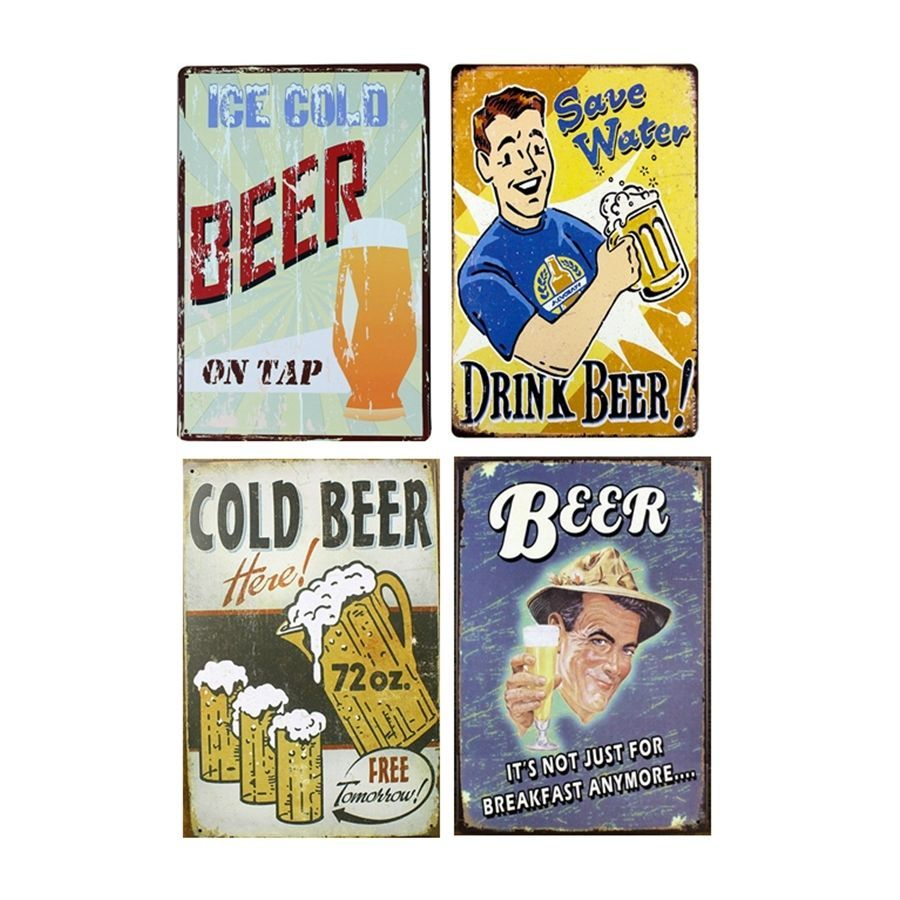 Vintage painting wall art metal signs retro beer for bar pub home