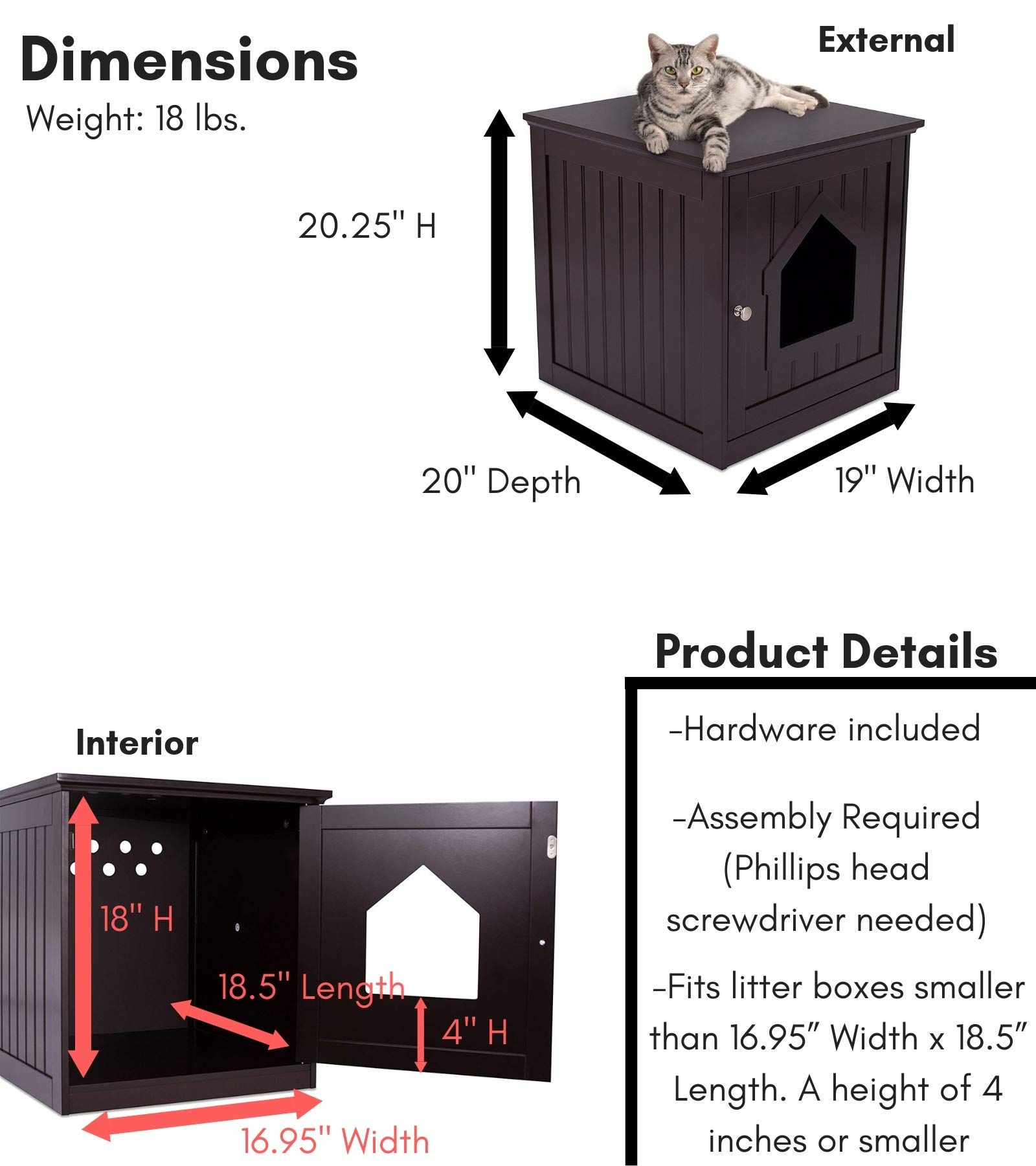 Internets Best Decorative Cat House And Side Table Cat Home Nightstand Indoor Pet Crate Litter Box Enclosure Espre Cat House Dog Kennel Dog Kennel Furniture