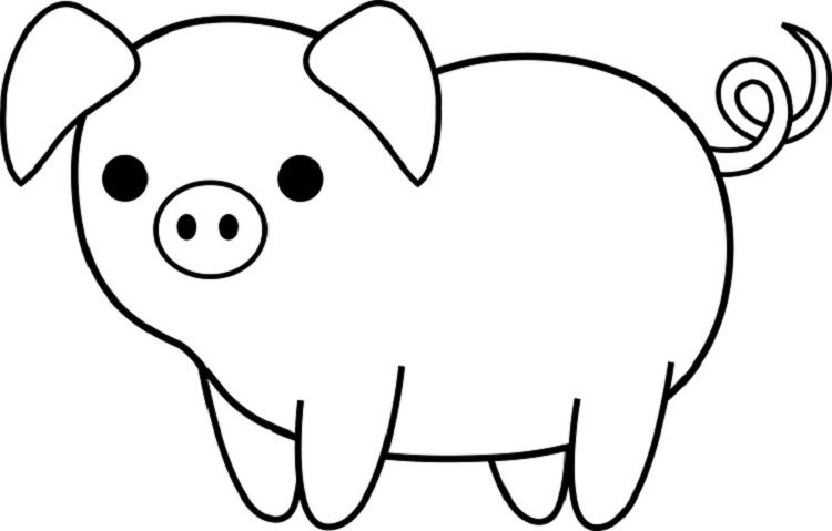 Easy Pig Coloring Pages | Pig clipart, Stuffed animal patterns
