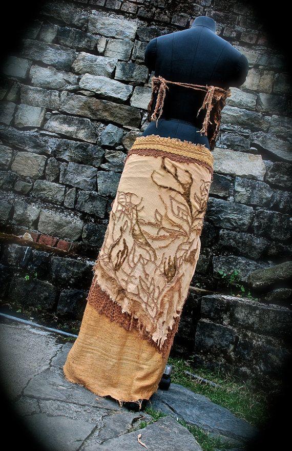 Fairy Pixie Long Skirt Sand and Leaves  Raw silk by AnuttaraCrafts