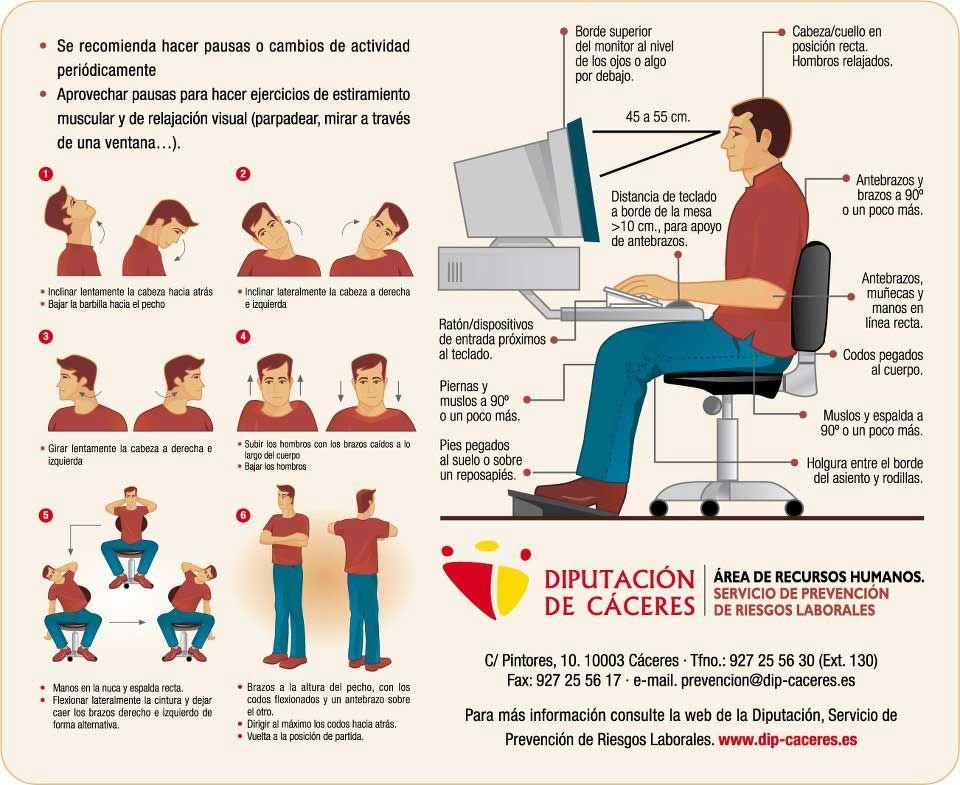 Mejora tu higiene postural y la ergonom a en el trabajo si for Ergonomia en el puesto de trabajo oficina