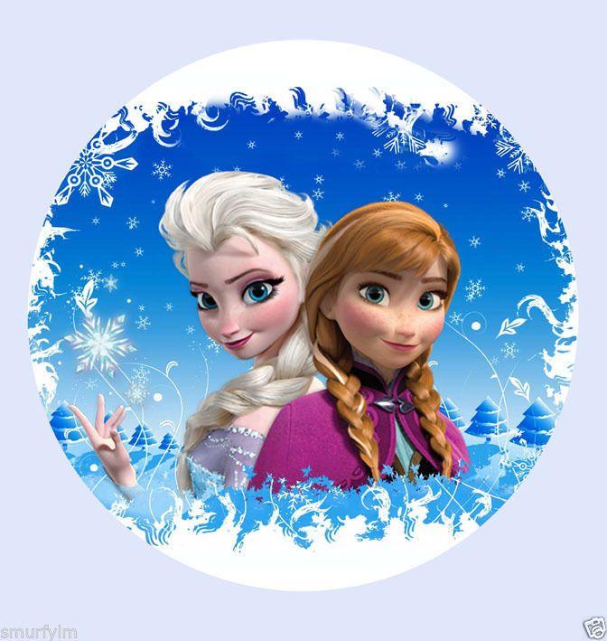 Elsa /& Ana  Cartoon 7 Inch Edible Image Cake Cupcake Toppers Frozen