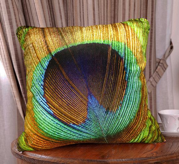 Elegant Square Velvet Fabric Throw Pillow Cushion Cover Peacock