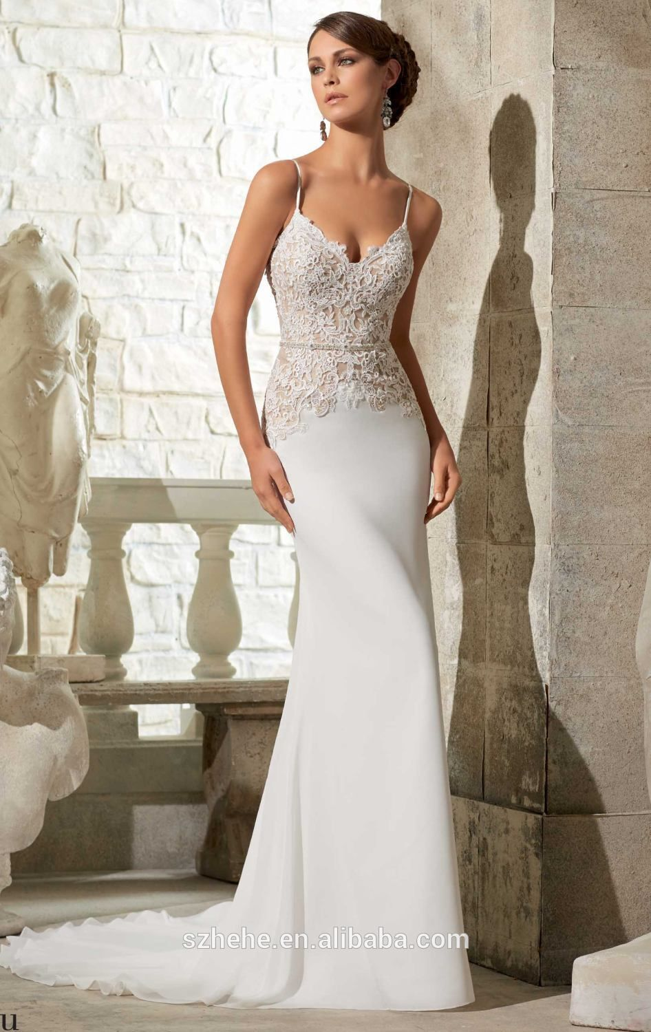 Spaghetti strap mermaid wedding dress  W Attractive lace top spaghetti straps mermaid chiffon casual