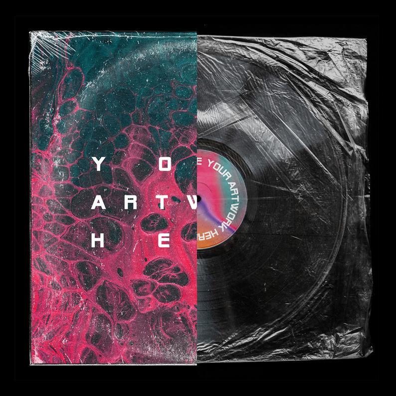 Vinyl Record Mockup Psd Photoshop Wrinkled Foil Sleeve And Etsy Vinyl Artwork Graphic Design Mockup Cover Art Design