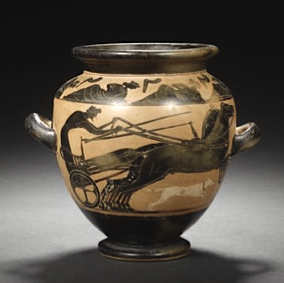 An Attic black-figure stamnos Attributed to the Michigan Painter, circa late 6th Century B.C.